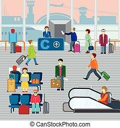 illustraton, 平ら, ベクトル, 空港。, 人々