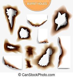 illustraton, 現実的, 燃やされる, ペーパー, 穴