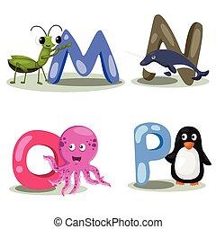 Illustrator alphabet animal LETTER
