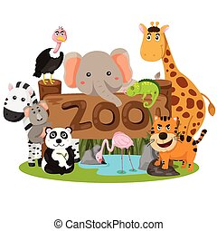 illustrator, dieren, dierentuin