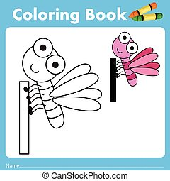 Illustrator of color book with insect animal