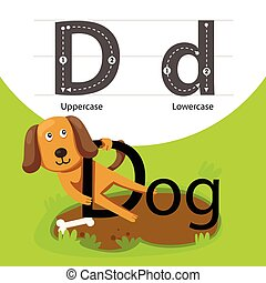 Illustrator of dog with d font