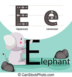 Illustrator of elephant with e font