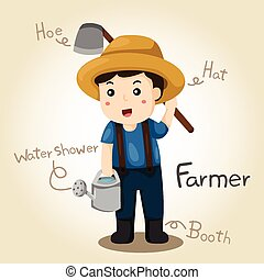 Illustrator of Farmer alphabet Profession. Letter F