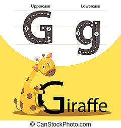 Illustrator of giraffe with g font