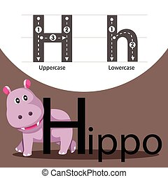 Illustrator of hippo with h font