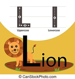 Illustrator of lion with l font