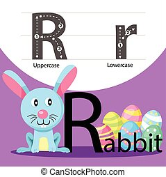 Illustrator of rabbit with r font