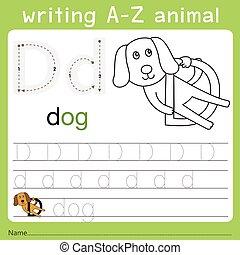 Illustrator of writing a-z animal d