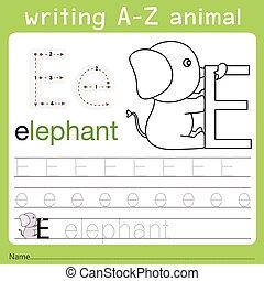 Illustrator of writing a-z animal e