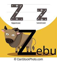 Illustrator of zebu with z font
