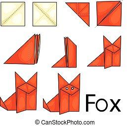 illustrator, raposa, origami