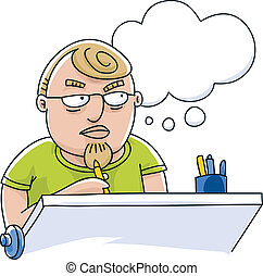 An illustrator sits at his drawing table, unable to think of ideas.