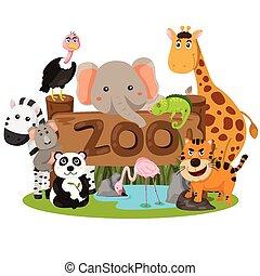 illustrator, van, dierentuin, dieren