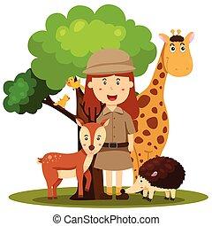 illustrator, van, dierentuin oppasser, vrouwen