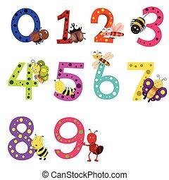 illustrator, van, getal, nul, om te, negen, met, een