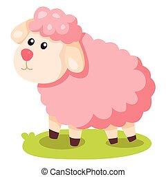 illustrator, van, roze, schaap
