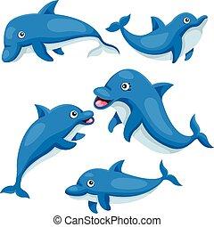 illustrator, van, schattig, dolfijn