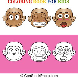 illustrator vector monkey coloring book