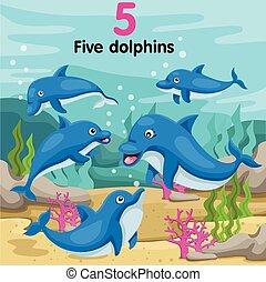 illustrator, vijf, getal, dolfijnen