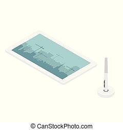 illustrators, concepteurs, stylo, tablette