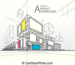 illustrazione, 3d, costruzione, astratto, design., architettonico