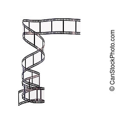 illustrazione, 3d, striscia cinematografica, bianco, fondo.