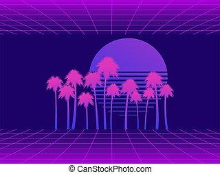 illustrazione, 80s., paesaggio, virtuale, alberi., stile retro, vettore, realtà, futurismo, tramonto, palma