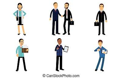 illustrazione affari, bianco, vettore, addirsi, lavorante, isolato, quotidiano, fondo, ufficio, set, chores