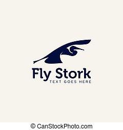 illustrazione affari, creativo, cicogna, vettore, sagoma, logotipo
