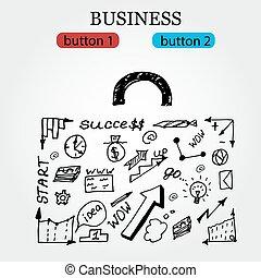illustrazione affari, mano, vettore, icons., fondo, disegnato