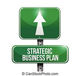 illustrazione affari, strategico, piano, segno, strada