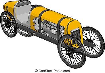 illustrazione antica, giallo, fondo., vettore, automobile, bianco