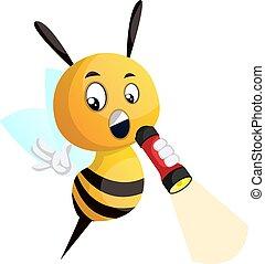 illustrazione, ape, fondo., vettore, presa a terra, pila, bianco
