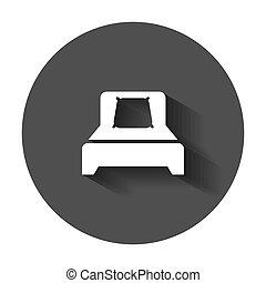 illustrazione, appartamento, affari, rilassare, divano, concept., lungo, style., vettore, sonno, letto, camera letto, shadow., icona