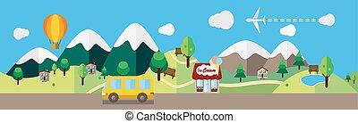 illustrazione, appartamento, cartone animato, paesaggio, colorato