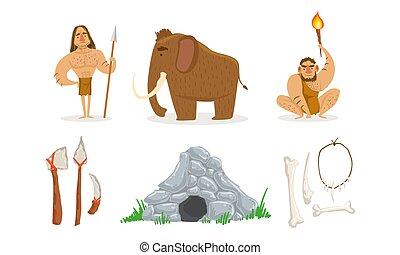 illustrazione, arma, mammut, preistorico, persone, caverna, primitivo, pietra, set, vettore, età