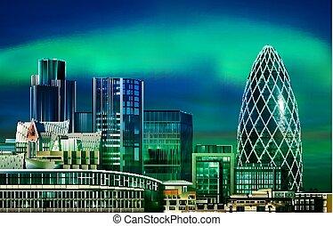illustrazione, astratto, verde, tramonto, cityscape, fondo, londra