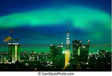 illustrazione, astratto, verde, tramonto, cityscape, fondo, tallinn