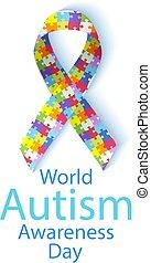 illustrazione, autism, vettore, mondo, giorno, consapevolezza