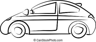 illustrazione, automobile, disegno, fondo., vettore, bianco