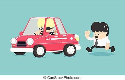 illustrazione, automobile, furto