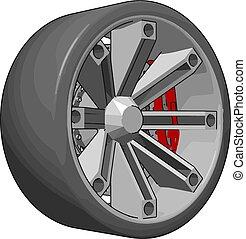 illustrazione, automobile, pneumatico, fondo., vettore, bianco