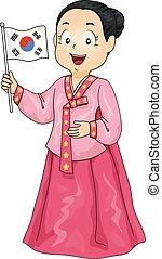 illustrazione, bandiera, costume, ragazza, coreano, capretto