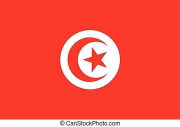 illustrazione, bandiera, tunisia, vettore