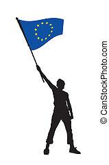 illustrazione, bandiera, vettore, presa a terra, europa, uomo
