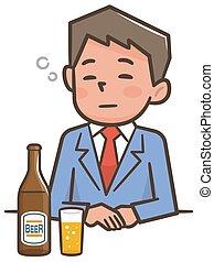 illustrazione, bere, birra, ubriaco, uomo