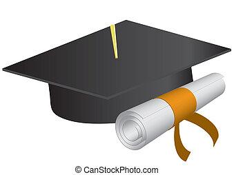 illustrazione, berretto, diploma, graduazione, vettore, fondo., bianco
