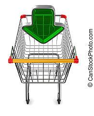 illustrazione, bianco, shopping, fondo., carrello, isolato, 3d