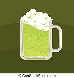illustrazione, birra, vettore, verde, tazza